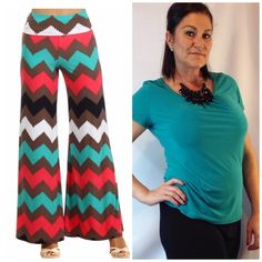 "Bundle #1 @wannwann123 PERFECT FOR SPRING! Plus 3X Colorful Chevron Palazzo Wide Leg Pants Gorgeous bright colors of coral, teal,brown, white & black (the pic with the brighter colors is actually colors) Wear high waisted or fold over New, no tags  Size 3X Waist 18"" across (unstretched) 32"" Inseam 95% rayon, 5% spandex, very stretchy  ‼️PRICE FIRM UNLESS BUNDLED‼️ Create a bundle for 15% off! Thanks for looking✌️❌NO TRADES❌ Hourglass Lady Pants Wide Leg"