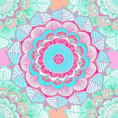 Tropical Bloom - floral doodle in pink, mint, peach, aqua, white Framed Art Print by micklyn
