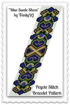 BP-AB-127  Blue Suede Shoes  Odd Count Peyote Stitch by TrinityDJ
