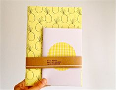 Notebook set Pineapple Journal and Polka Dot by mipluseddesign