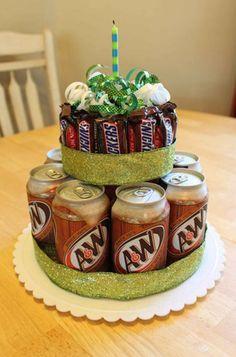 Fun Birthday Cake Gift - use their favorite drink and candy. fathers day or birthday Birthday Cake Gift, Gift Cake, Cool Birthday Cakes, Birthday Fun, Birthday Presents, Birthday Ideas, Birthday Pictures, Teenage Boy Birthday, Healthy Birthday