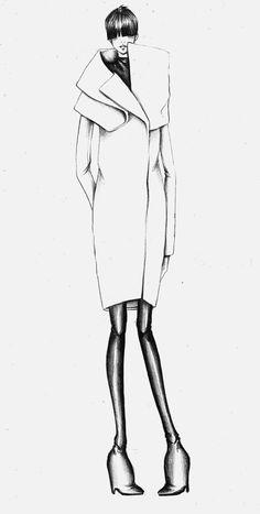 Fashion Illustration with Jil Sander coat - fashion sketch; fashion design drawing // Bruna Volpi