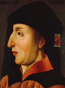 Philip the Bold (17 January 1342-27 April 1404) Duke of Burgundy (as Philip II) Count of Flanders (as Philip II), Artois and Burgundy (as Philip IV). The fourth and youngest son of King John II of France and his wife Bonne of Luxembourg, Philip was the founder of the Burgundian branch of the House of Valois. Father of Mary of Burgundy (1386–1422) Duchess of Savoy by her marriage to Amadeus VIII of Savoy, known as Antipope Felix V. 18th great grandfather.