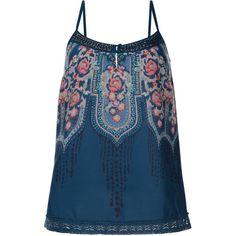 Monsoon Sarah Print Cami Top ($30) ❤ liked on Polyvore featuring tops, blusas, shirts, sleeveless tops, blue shirt, tie-dye shirts, lace tank, tye dye shirts and tie dyed shirts