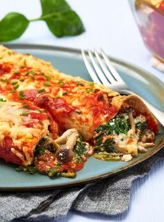 Enchilada's met spinazie en beukenzwam