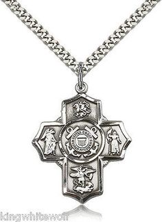 Bliss US Coast Guard Sterling Silver Five-Way Military Cross Medal Necklace