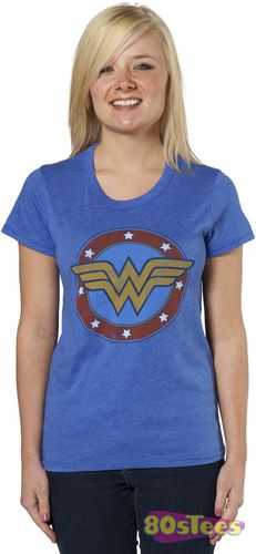 This Wonder Woman shirt features a distressed print of the DC Comic character logo. I want this!