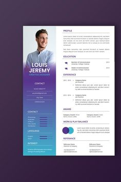 Looking for Professional CV and resume templates ? Professional CV and Resume templates designed to impress hiring managers at even the most prestigious Creative Cv Template, Certificate Design Template, Job Resume Template, Resume Design Template, Illustrator Resume, Adobe Illustrator, Cv Digital, Cv Words, Portfolio Website