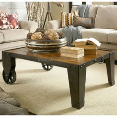 The Americana Home Occasional Table by Hammary is a casual lifestyle grouping with an eclectic mix of design elements and materials. A Dark Rustic Oak finish with heavier distressing and wood planks combined with dark metal details. Americana Home creates Hickory Furniture, Loft Furniture, French Furniture, Find Furniture, Quality Furniture, Furniture Ideas, Modern Furniture, Small Living Room Table, Dining Room Sets