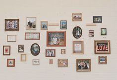 Wall of photos in frames <3    Los Angeles Industrial Greenhouse Wedding: Tawny + Irv