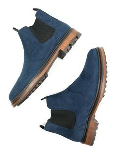 Vegan womens's Continental Chelsea boots in dark blue faux suede by Will's Vegan Shoes
