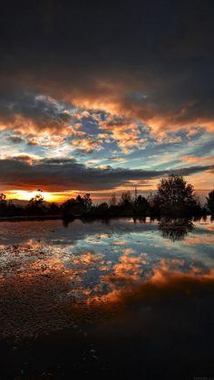 sunset lake night dark nature iphone6 wallpaper