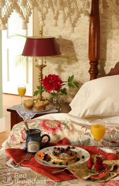 Enjoying breakfast in bed (Brampton Bed & Breakfast Inn ~♥~ Located in Chestertown, Maryland) Red Cottage, Cottage Living, Cottage Style, English Country Style, English Countryside, Relax, Shabby, Breakfast In Bed, Breakfast Picnic