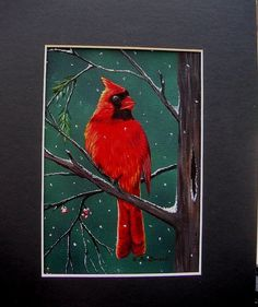 Bird Painting  Cardinal on a Snowy Day  red by SmallTownTraditions, $20.00