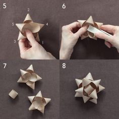 スターリボンの作り方 Paper Flowers Diy, Craft Work, Packaging Design, Origami, Diy And Crafts, Holiday, Christmas, Wraps, Presents
