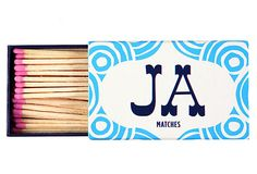 S/3 Boxed Matches, Circle Ornament Blue