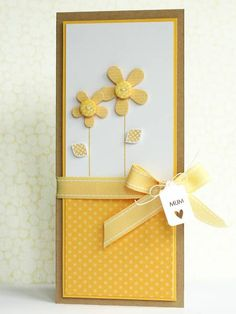 handmade Mother's Day card: Mum by limedoodle  ... tall and thin format .. yellows and white ... clean design ... sunny look