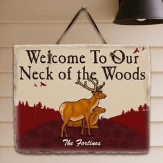 Personalized Neck of the Woods Slate Plaque