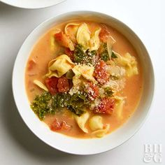 Fennel and oregano in the broth mixture, plus Parmesan sprinkled on top, give this slow cooker tortellini soup its location-specific name. Try it with any stuffed pasta (even ravioli) you like—we love spinach-cheese tortellini. Slow Cooker Tortellini Soup, Garlic Tortellini, Slow Cooker Soup, Slow Cooker Recipes, Crockpot Recipes, Cooking Recipes, Cheese Tortellini, Cheese Soup, Korma