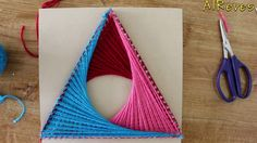 String Art Patterns - How To Make String Art Triangle Pattern - by Sonia Goyal String Art Tutorials, String Art Patterns, Arte Linear, Paper Quilling Tutorial, Diy Monogram, Diy Crafts For Home Decor, Spirograph, Easy Art Projects, Math Art