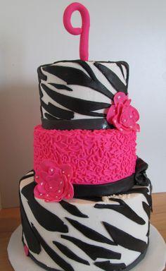 Zebra Birthday Cake Ellas 1st bday!!!