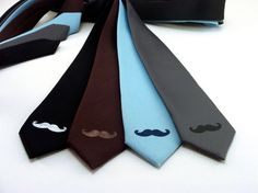 Mustache Skinny Tie by MartyMay on Etsy, $15.00