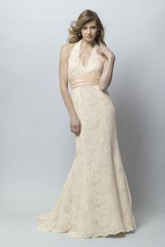 wtoo camden 18407 ivory re embroidered lace over almond lining halter gown with blush shimmer