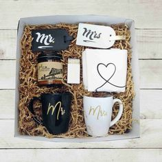 The perfect Mr Mrs gift box!! Our Etc Box, Mr Mrs Edition contains all of our best sellers and a few lovely extras. Sure to be loved by any Couple! Can also be a MRS MRS or MR MR gift box! Just let us know! All of your products come in a beautiful gift box, tied with a black bow. -WHATS IN OUR Wedding Gifts For Bride And Groom, Wedding Gift Boxes, Mr And Mrs Wedding, Unique Wedding Gifts, Wedding Anniversary Gifts, Bride Gifts, Unique Weddings, Bride Box Gift, Bride Groom