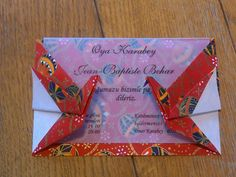 Double Sided Crane Origami Card Japanese Chiyogami by OyaBoutique