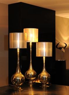 Set 3x lamp Miranda Gold lame van Verlichtingen