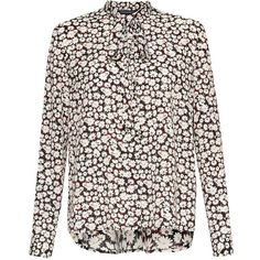 French Connection Bloomsbury Daisy Tie Neck Blouse, Black/Multi (€62) ❤ liked on Polyvore featuring tops, blouses, neck-tie, neck tie blouse, pattern blouses, floral print blouse and floral long sleeve blouse