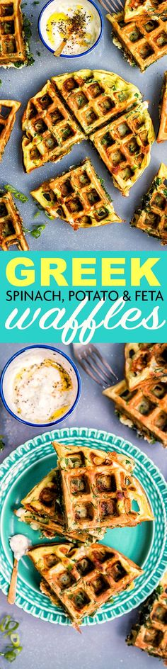 Greek spinach, feta and potato waffle with garlicky tzatziki dip | Supergolden Bakes
