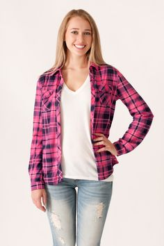 Pink and Navy Plaid Button Down #May23Online