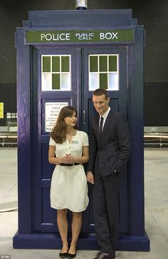 Eagerly anticipating: Matt Smith and Jenna Louise Coleman pose by the tardis as they wait to meet The Prince of Wales and the Duchess of Cor. Undécimo Doctor, Doctor Who Cast, Eleventh Doctor, British Actresses, Actors & Actresses, Clara Oswald, Bbc America, Don't Blink, Jenna Coleman