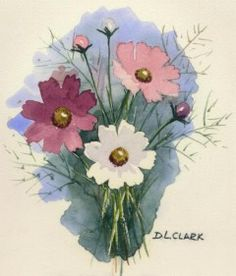 How to paint Cosmos flowers in watercolours (watercolor). Easy to follow tutorial - also the basic drawings of different angles of the flower. Free, lesson, art, watercolor, paint