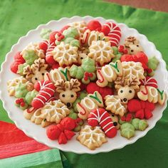 Classic Spritz Cookies are an easy way to add variety to a tray of cookies. A cookie press lets you change disks to produce many different shapes. Serve them plain, sprinkled with decorations or sugars, frosted or dipped in melted candy! Spritz Cookies, Holiday Cookies, Holiday Treats, Christmas Treats, Holiday Recipes, Wilton Spritz Cookie Recipe, Fancy Cookies, Christmas Recipes, Noel Christmas
