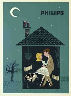livingnowisliving: A 1960 vintage Philips gramophone ad. Retro Poster, Poster Vintage, Poster Ads, Vintage Advertising Posters, Vintage Advertisements, Retro Illustration, Illustrations, Pub Vintage, Etiquette Vintage