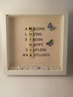 Scrabble Letter Crafts, Scrabble Wall Art, Scrabble Letters, Crafts With Scrabble Tiles, Diy Gifts For Mothers, Mothers Day Crafts, Happy Mothers Day, Diy Bday Gifts For Mom, Mom Gifts