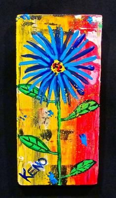 BLUE~FLOWER~wood painting Maine Abstract FOLK ART outsider~COASTWALKER