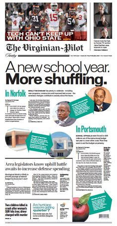 The Virginian-Pilot's front page for Tuesday, Sept. 8, 2015.