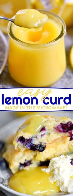 This incredibly easy Lemon Curd recipe is sweet, tart, silky smooth and perfect for spreading on all manner of baked goods such as scones and biscuits. Lemon curd is so easy to make in the microwave and blows store bought lemon curd out of the water. Microwave Lemon Curd, Easy Lemon Curd, Sugar Free Lemon Curd, Lemon Curd Filling, Köstliche Desserts, Dessert Recipes, Easy Lemon Desserts, Tart Recipes, Lemond Curd