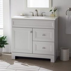 Bathroom Remodel Discover Home Decorators Collection Sedgewood in. Bath Vanity in Dove Gray with Solid Surface Technology Vanity Top in Arctic with White Sink - The Home Depot Search Results for Home decoraters sedgwood vanity at The Home Depot 24 Inch Vanity, 24 Inch Bathroom Vanity, 30 Vanity, Gray Vanity, Small Bathroom Vanities, Bathroom Red, Bathroom Vanity Cabinets, Grey Bathrooms, Bath Vanities