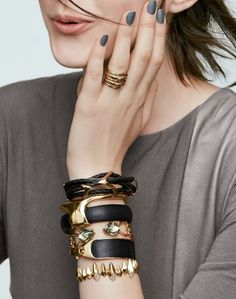 Trending for fall - Black and gold arm candy.