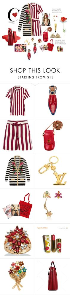 """""""Flowers & Stripes"""" by mbarbosa ❤ liked on Polyvore featuring RED Valentino, Marni, Chanel, Gucci, Louis Vuitton, Rodarte, Palm Beach Jewelry, Avon and Natasha"""