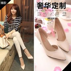 2014 Spring new nude color shoes with pointed heels shallow mouth thin side empty girl shoes fashion women pumps tx84