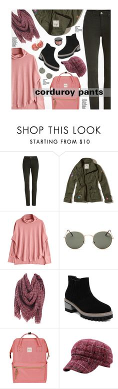 """Fall Trend: Corduroy Pants"" by beebeely-look ❤ liked on Polyvore featuring AG Adriano Goldschmied, Hollister Co., Quay, Bobbi Brown Cosmetics, casual, school, schooloutfit, corduroy and gamiss"
