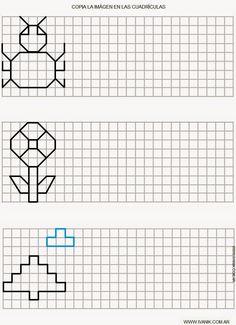 Játékos tanulás és kreativitás: Szimmetria, tükrözés Graph Paper Drawings, Graph Paper Art, Symmetry Worksheets, Vocational Tasks, Math Patterns, Blackwork Embroidery, School Worksheets, Pre Writing, Puzzles For Kids
