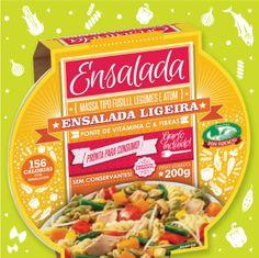 Ensalada Ligeira: massa tipo Fusilli, atum e legumes (cenoura, vagem, milho doce, pimentão vermelho, broto de feijão mungo).