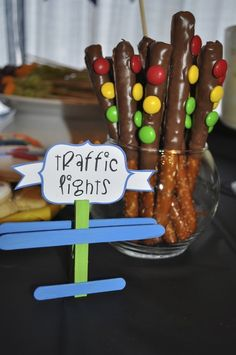 Edible traffic lights at a Transportation Party #transportation #party