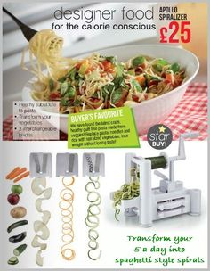 Want to stay healthy this summer, then try our Apollo Spiralizer – ONLY £25 A great alternative to pasta/noodles and recommended for all low calorie, healthy diets. Makes a healthy quick cook substitute to pasta. Includes 3 interchangeable stainless steel blades. Size L31 x W17 x H23cm Message me for details – Megan  inc. FREE Local Delivery or +£3.95 p&p nationwide